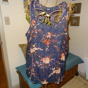 New A.N.A. Sleeveless Layered Navy Blue Floral Top